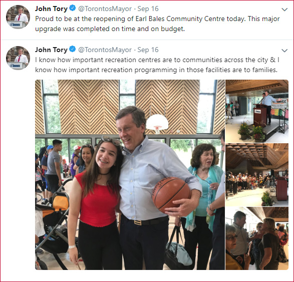 """John Tory - """"Proud to be at the reopening of Earl Bales Community Centre today. This major upgrade was completed on time and on budget. I know how important recreation centres are to communities across the city & I know how important recreation programming in those facilities are to families."""""""